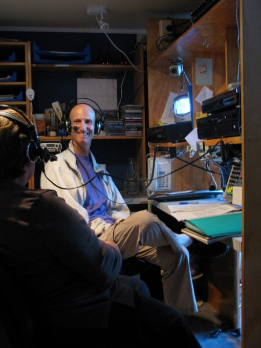 In the studio with a guest, Kaye Dragicevich, in December, 2008