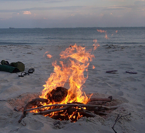 Campfire on Beach for Extending Friendship