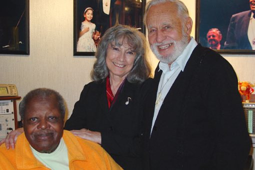 Russell and Gina Garcia in 2002 with Oscar Peterson