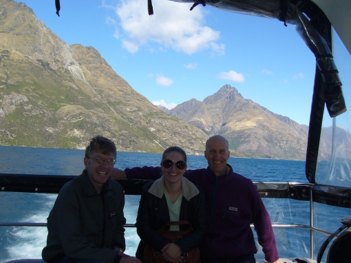 Toby, Amira and John on a cruise in Queenstown