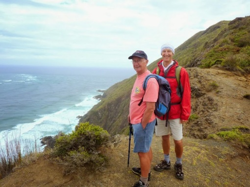 Two Johns by the steep early cliffs