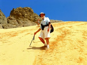George coming safely down the steep dune.